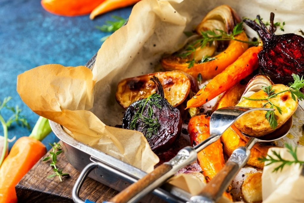 Oven roasted winter vegetables